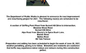 Milling & Paving Schedule 2021